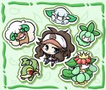 brown_hair cottonee green lilligant petilil pokemon pokemon_(game) pokemon_bw snivy touko_(pokemon) whimsicott yanagi_(artist)