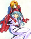 alternate_hairstyle ayanami_rei blue_hair cosplay costume_switch neon_genesis_evangelion short_hair souryuu_asuka_langley