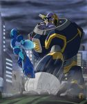 battle city debris jumping mecha miyako_f1 punching rockman rockman_x vava weapon x