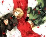 aplerichi axis_powers_hetalia blonde_hair cloth covering_eyes dual_persona formal gloves hands_clasped light_smile lithuania_(hetalia) lying lying_on_back military military_uniform multiple_boys necktie on_back petals poland_(hetalia) rose_petals short_hair suit uniform