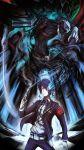 armband blue_eyes blue_hair evoker headphones highres kurkoboltsi persona persona_3 school_uniform sword thanatos weapon