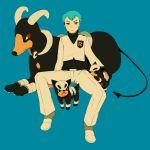 apollo_(pokemon) aqua_hair blue_eyes houndoom houndour pokemon pokemon_(game) sitting team_rocket