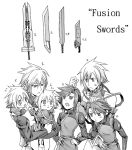 brothers comparison everyone final_fantasy final_fantasy_vii final_fantasy_vii_advent_children first_ken fusion_swords male monochrome multiple_boys number numbers personification shinzui_(fantasysky7) siblings sword twins weapon