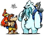 10s 2010 angry backpack bad_id bag banjo-kazooie banjo_(banjo-kazooie) bear beartic bird confused creatures_(company) crossover game_freak kazooie_(banjo-kazooie) lowres microsoft nintendo no_humans parody pokemon pokemon_(creature) pokemon_(game) pokemon_black_and_white pokemon_bw polar_bear rareware seagull stixdude tympole unfezant