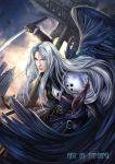 advent advent_children belts clouds feathers final_fantasy final_fantasy_vii long_hair male realistic sephiroth silver_hair solo sword wings yangfan