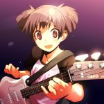 brown_eyes brown_hair face foreshortening guitar instrument k-on! open_mouth raglan_sleeves short_hair short_twintails solo suzuki_jun sweat t-shirt twintails watarai_keiji yamaha