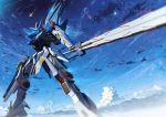 clouds gun gundam gundam_seed gundam_seed_a-star mecha mobile_suit_gundam moon original sky starlight_(stack) sword tsx-02r_garland weapon