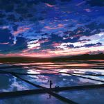 cloud clouds dog field highres original reflection rice_paddy scenery silhouette sky solo sunrise walking water