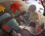 book broom couple gap hakurei_reimu kirisame_marisa leaf morichika_rinnosuke mushroom sitting stairs touhou tree yakumo_yukari