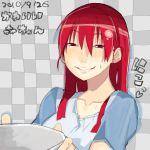 character_request mori_hikiko original red_eyes red_hair redhead t-shirt teriyaki