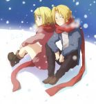 blue_eyes blush edward_elric fullmetal_alchemist long_hair looking_back ponytail scarf winry_rockbell yellow_eyes