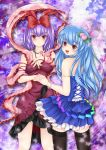 alternate_costume bad_id black_legwear black_thighhighs blue_hair dress flower food fruit hair_ornament highres hinanawi_tenshi jewelry lace lace-trimmed_thighhighs long_hair multiple_girls nagae_iku necklace necktie nekokotei peach pink_rose purple_hair red_eyes rose shawl short_hair thigh-highs thighhighs touhou
