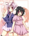 animal_ears black_hair blazer bunny_ears etou_(cherry7) inaba_tewi jewelry long_hair multiple_girls necktie pendant pink_hair pleated_skirt purple_hair rabbit_ears red_eyes reisen_udongein_inaba skirt thighhighs touhou zoom_layer