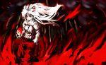 burning_hand fire floating_hair fujiwara_no_mokou hand_in_pocket inobesion red solo touhou white_hair wind