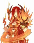 breasts cleavage fire long_hair pointy_ears red_eyes red_hair redhead simple_background wings