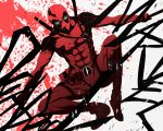abs deadpool male marvel monochrome muscle pizaya red s_tanly solo sword weapon
