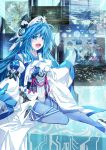 blue_hair decchi_oyabun detached_sleeves gloves highres long_hair open_mouth original pixiv sitting