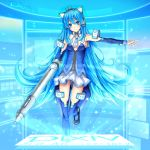 blue_eyes blue_hair cat_ears floating_screen highres long_hair mecha_musume pixiv pixiv-tan skirt stylus taiyou very_long_hair