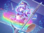 1girl blue_background blue_hair fang fingerless_gloves gloves hat midriff paintbrush palette pen pixiv pixiv-tan purple_eyes rainbow solo thighhighs twintails yosugara_shou