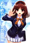 blush brown_hair character_request fingernails foreshortening hairband hands highres long_hair misaki_kurehito open_mouth outstretched_hand red_eyes sasaki_kaori school_uniform skirt solo ushinawareta_mirai_wo_motomete zoom_layer