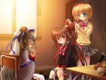 aqua_eyes blonde_hair blue_eyes brown_hair buttons hair_ribbon hat kamikita_komari large_buttons little_busters! locker_room long_hair moonknives multiple_girls mutsuki_(moonknives) natsume_rin noumi_kudryavka plaid plaid_skirt ponytail red_eyes ribbon silver_hair skirt wallpaper