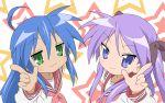 2girls hiiragi_kagami izumi_konata lucky_star pointing seifuku stars