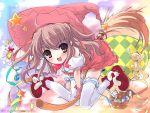 broom_riding fang hat highres hot_air_balloon itou_noiji komorebi_ni_yureru_tamashii_no_koe kouenji_ayana magical_girl ribbon stuffed_animal stuffed_toy teddy_bear thighhighs witch_hat