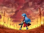 archer_(cosplay) cosplay crossover fate/stay_night fate_(series) izumi_konata kanshou_&_bakuya lucky_star parody solo sword unlimited_blade_works wallpaper weapon