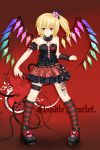 bare_shoulders blonde_hair bustier character_name flandre_scarlet flat_chest flower gothic_lolita hair_flower hair_ornament highres kneehighs leg_garter lingerie lolita_fashion nekokotei ponytail red_eyes short_hair side_ponytail solo striped striped_legwear touhou underwear wings