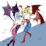 bare_shoulders bat_wings blonde_hair blue_hair blue_pantyhose capcom cosplay flandre_scarlet flat_chest head_wings highres lilith_aensland lilith_aensland_(cosplay) morrigan_aensland morrigan_aensland_(cosplay) multiple_girls pantyhose print_pantyhose purple_pantyhose red_eyes remilia_scarlet side_ponytail touhou vampire_(game) wings zatsumi