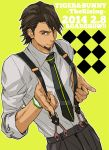 1boy brown_eyes brown_hair facial_hair kaburagi_t_kotetsu mattsu necktie solo stubble suspenders tiger_&_bunny
