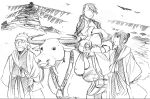 arakawa_hiromu bag bags desert fu_(fullmetal_alchemist) fullmetal_alchemist lan_fan ling_yao official_art ox ponytail sketch