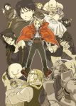 alex_luis_armstrong alphonse_elric armor black_hair blonde_hair braid cat coat edward_elric envy_(fma) fullmetal_alchemist glasses gluttony gun hohenheim lan_fan ling_yao long_hair looking_back lust maes_hughes ponytail pose riza_hawkeye roy_mustang shirtless smile unco van_hohenheim weapon yellow_eyes