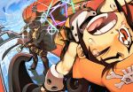fang guilty_gear hat johnny johnny_(guilty_gear) may may_(guilty_gear) skull_and_crossbones sky sword tears weapon wink yskysk