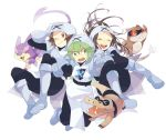 1girl 2boys alternate_costume arm_grab brown_eyes brown_hair closed_eyes cosplay green_eyes green_hair hood n_(pokemon) patrat pokemon pokemon_(creature) pokemon_(game) pokemon_black_and_white pokemon_bw purrloin sandile surcoat team_plasma team_plasma_(cosplay) tomare_(akashingou) touko_(pokemon) touya_(pokemon) wink