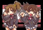 brown_hair drpow hirasawa_ui k-on! panty_&_stocking_with_garterbelt ponytail school_uniform short_hair style_parody suzuki_jun twintails
