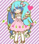 blue_eyes blue_hair blush bow cake chibi dress food fork frilled_kneehighs hair_bow hatsune_miku kneehighs long_hair maako_(pixiv54348) open_mouth pastry pink_dress plate polka_dot solo twintails very_long_hair vocaloid white_legwear wrist_cuffs