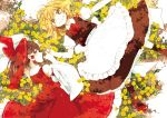 2girls apron blonde_hair bow braid brown_eyes brown_hair detached_sleeves field flower flower_field grin hair_bow hair_ribbon hair_tubes hakurei_reimu highres kirisame_marisa long_sleeves looking_at_viewer lying multiple_girls on_back on_side pinky_swear puffy_sleeves red_shoes ribbon shirt shoes short_sleeves single_braid skirt skirt_set smile touhou waist_apron wide_sleeves yellow_eyes yonu_(yonurime)