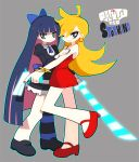 bad_id black_hair blonde_hair blue_eyes bow dadami dress earrings gun hair_bow jewelry multiple_girls panty_&_stocking_with_garterbelt panty_(character) panty_(psg) shoes single_thighhigh smile stocking_(character) stocking_(psg) striped striped_legwear striped_thighhighs sword thigh-highs thighhighs weapon wink