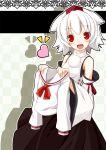 altivr animal_ears bad_id detached_sleeves hat heart inubashiri_momiji red_eyes school_uniform serafuku solo tokin_hat touhou white_hair wolf_ears