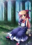 belt bow brown_hair chain fang flower forest gourd hair_bow highres horns ibuki_suika log long_hair nature open_mouth orange_hair sitting sitting_on_object sitting_on_rock smile solo takeponi touhou tree wrist_cuffs yellow_eyes