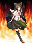 1girl absurdres bow brown_hair colored fire hair_bow highres jellylily long_hair looking_at_viewer red_eyes reiuji_utsuho smile solo touhou