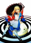 alice_(wonderland) alice_in_wonderland blonde_hair blue_eyes crossdressing highres kneehighs kuma_(persona_4) long_hair mary_janes official_art persona persona_4 shoes sitting skirt soejima_shigenori solo trap