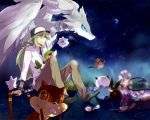 blue_eyes emolga ferris_wheel folala foongus green_eyes green_hair hat long_hair male moon n_(pokemon) night night_sky oshawott patrat pokemon pokemon_(game) pokemon_bw ponytail purrloin reshiram sewaddle shooting_star sky snivy swadloon tepig tympole watchog woobat