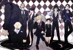 blonde_hair chin_rest dress envy_(fma) eyepatch father_(fma) formal fullmetal_alchemist gluttony greed grin hair_over_one_eye highres homunculus king_bradley long_hair lust nagi-23 open_mouth pride red_eyes selim_bradley sitting sloth smile throne tuxedo wrath