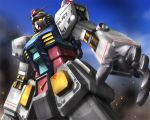 from_below gundam hands mecha mobile_suit_gundam no_humans rx-78-2 sky smoke solo zb