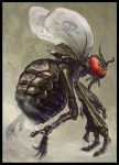 antennae beelzebub border bug claws compound_eyes demon fly flying fog from_below insect monster no_humans realistic simple_background skull_and_crossbones solo wings