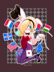 america animal_ears ash_crimson australia blonde_hair blue_eyes bunny_ears bunnysuit czech_republic flag france genderswap hair_over_one_eye hat highres iceland italy japan king_of_fighters pantyhose purple_pantyhose rabbit_ears shinomiya_masamune short_hair top_hat trap turkey_(country) ukraine union_jack united_kingdom