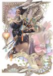 animal_ears arrow ass breasts cleavage dark_skin final_fantasy final_fantasy_xii fran jote lips long_hair looking_back multiple_girls olivia_(yh) orange_eyes silver_hair viera