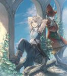 1girl animal_ears barefoot blonde_hair blue_eyes burmecian final_fantasy final_fantasy_ix freija_crescent freya_crescent hat head_wings lowres rat_tail silver_hair tabard tail zidane_tribal